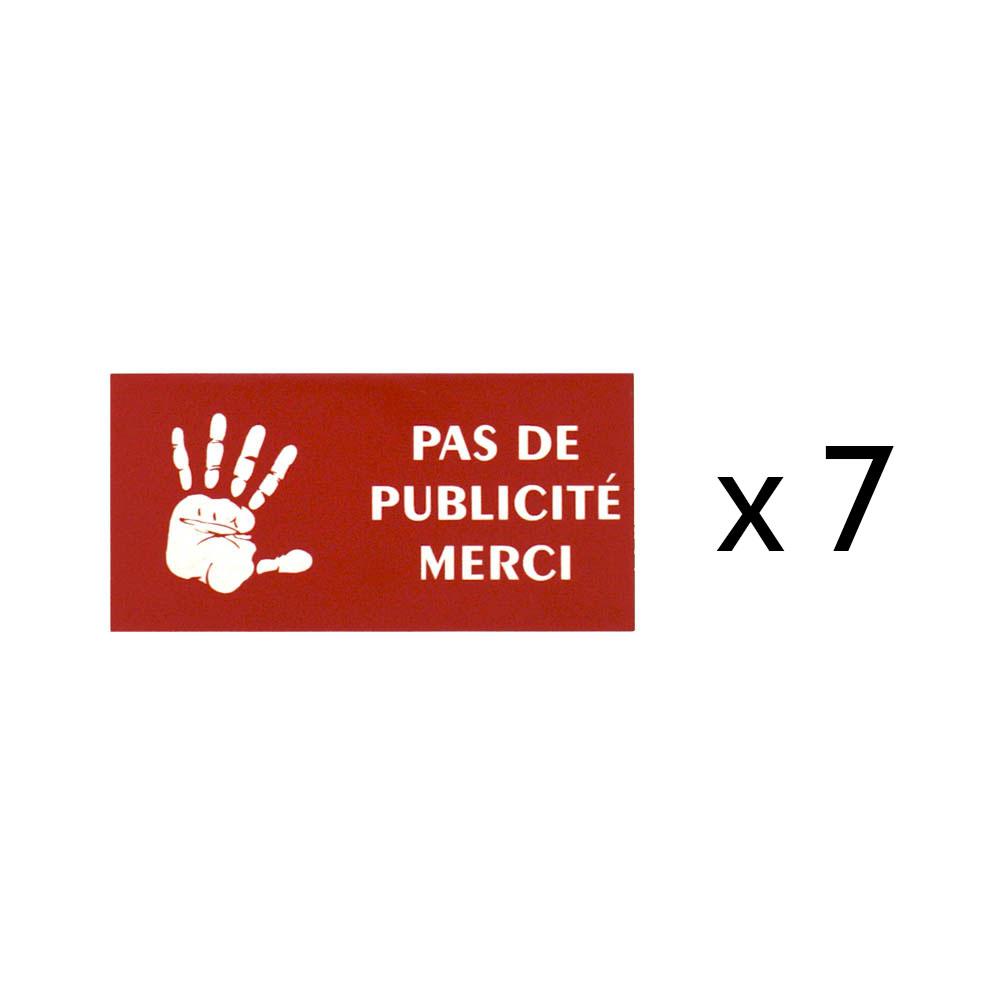 Lot de 7 plaques Stop Pub logo main pour recharge porte plaque buraliste, boulangerie, fleuriste