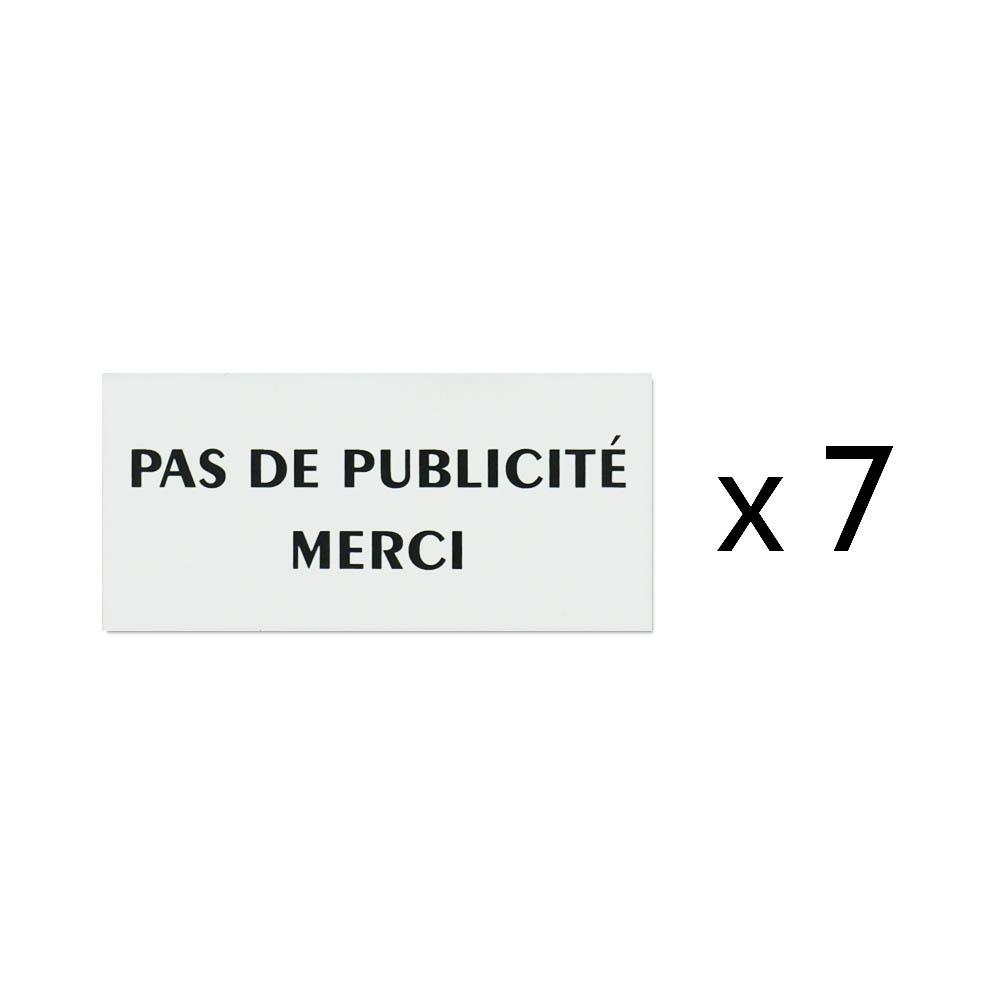 """Lot de 7 plaques Stop Pub logo """"Pas de publicité"""" pour recharge porte plaque buraliste, boulangerie, fleuriste"""