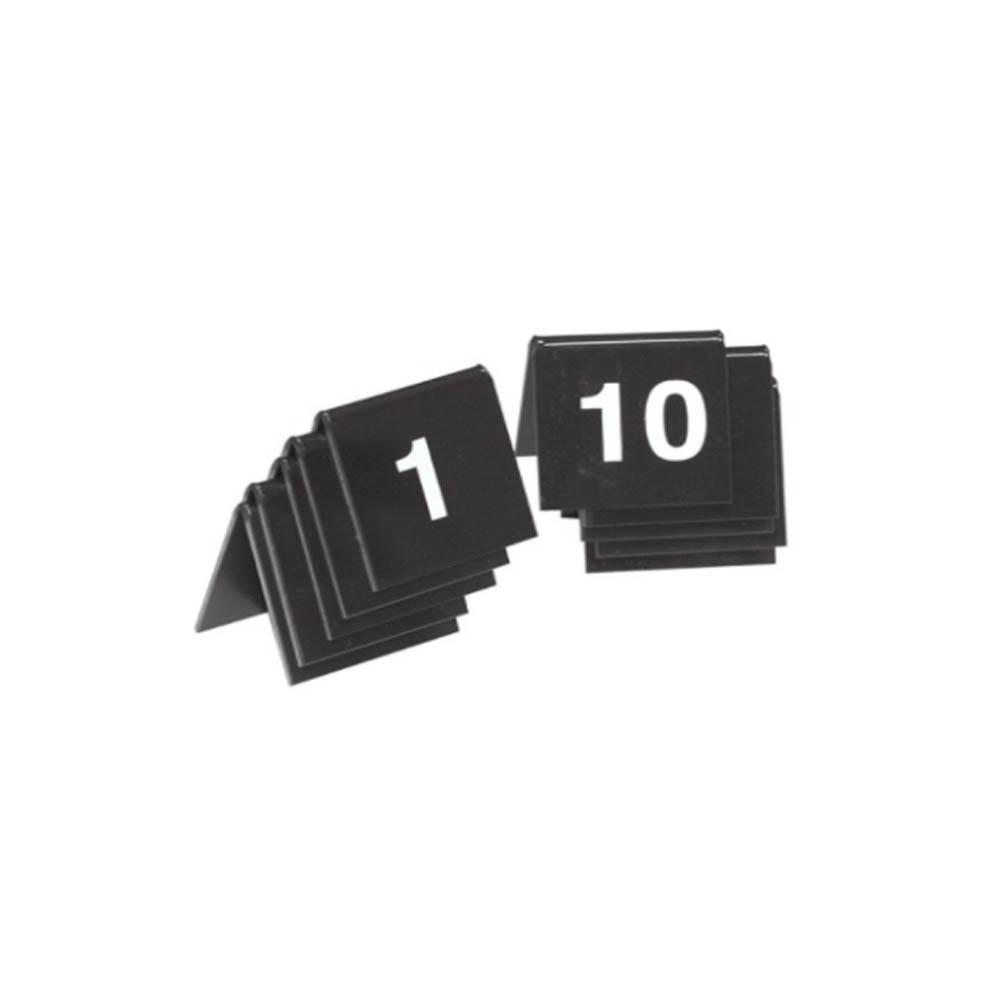 10 chevalets de table PVC noir numérotés