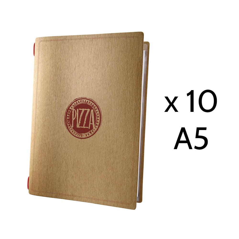 Lot 10 protège menus restaurant pizzeria format A5 écologique 1 insert modèle PIZZA - Dag Style