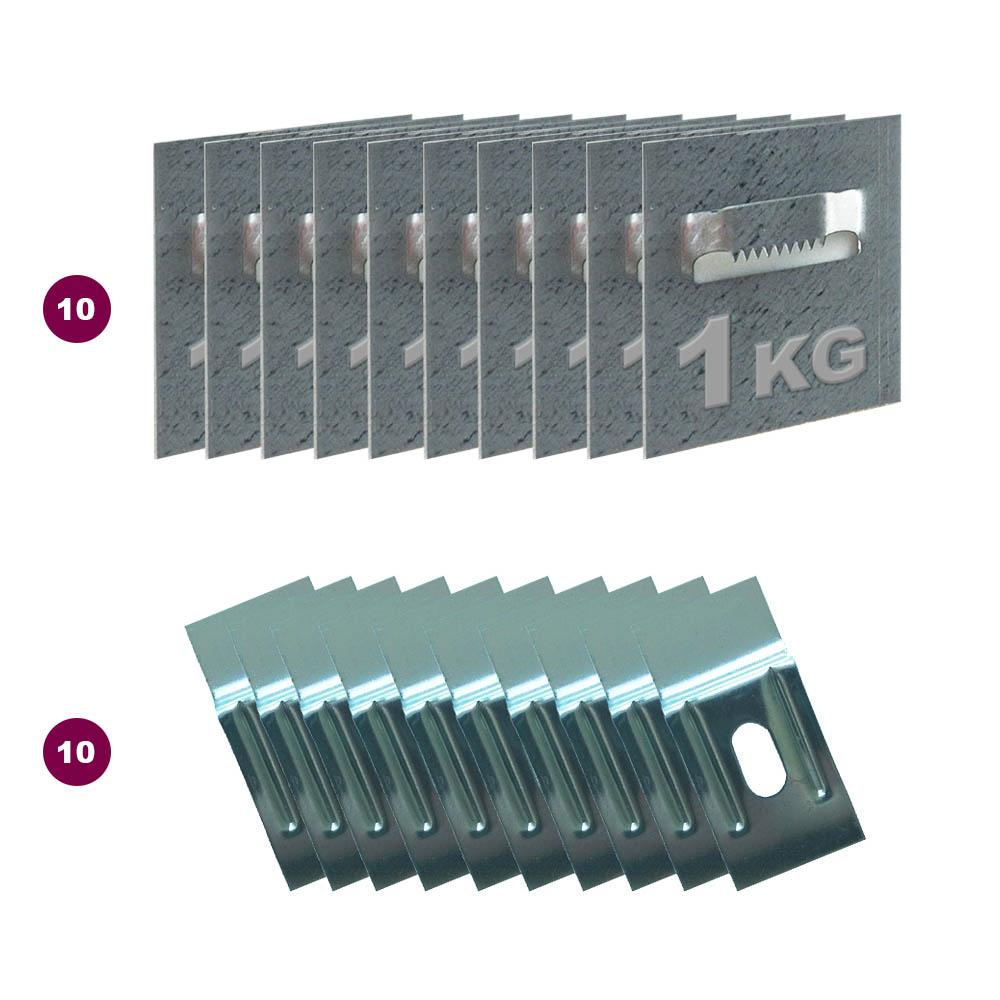 Boite 10 attaches adhésives type crocodile format 50 x 52 mm pour fixation Dibond, cadre et miroir - Charge 1 kg