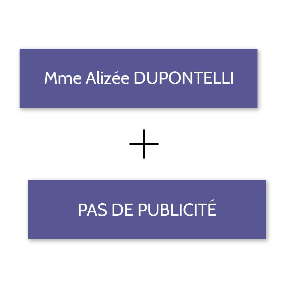 Plaque nom + STOP PUB pour boite aux lettres format Decayeux (100x25mm) violette lettres blanches - 1 ligne