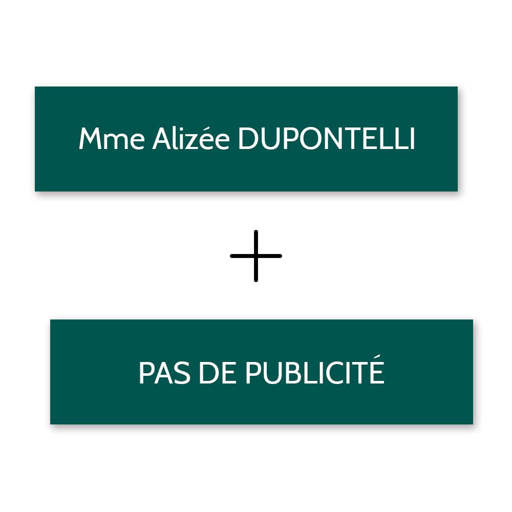 Plaque nom + STOP PUB pour boite aux lettres format Decayeux (100x25mm) vert foncé lettres blanches - 1 ligne