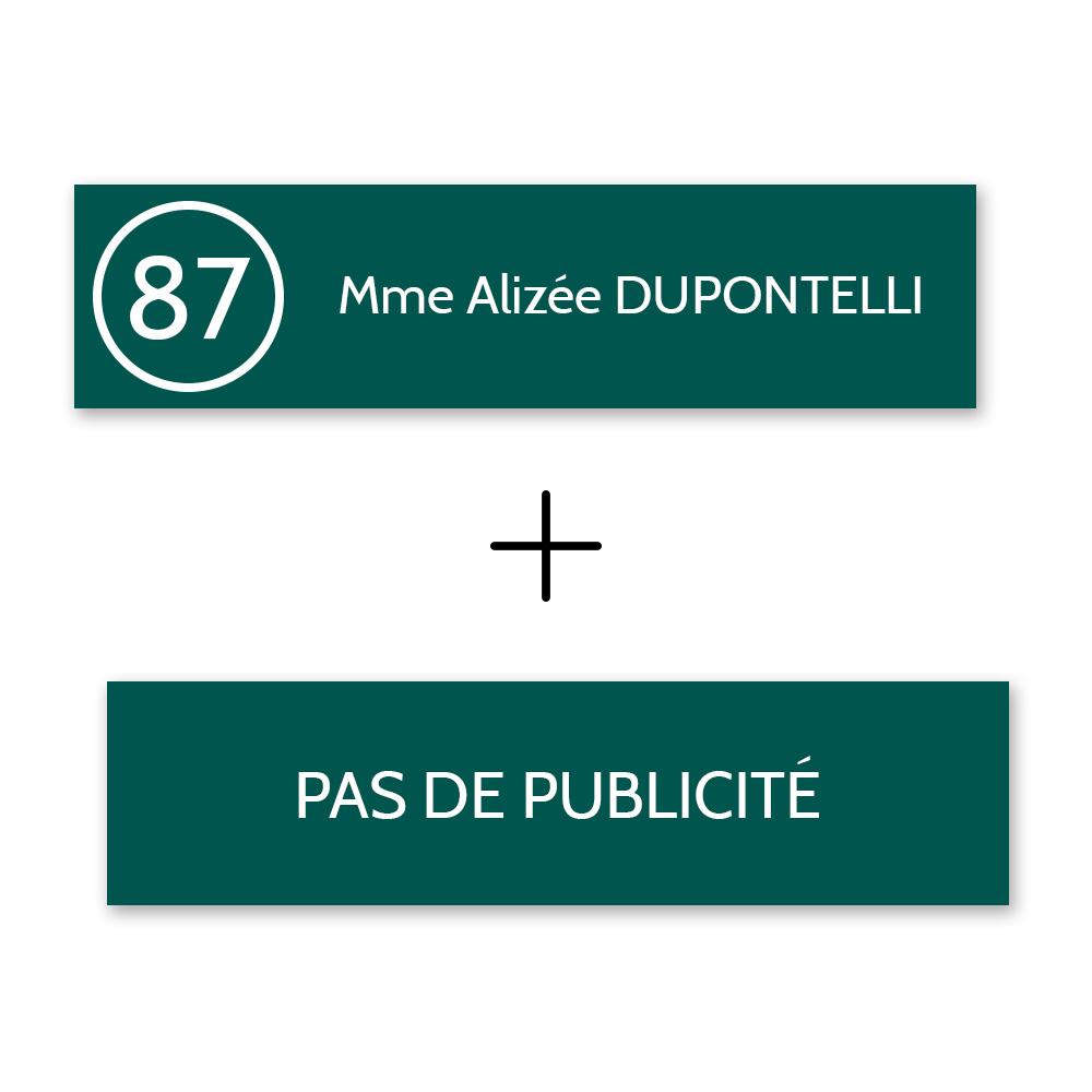 Plaque nom et numéro + Plaque STOP PUB pour boite aux lettres format Decayeux vert foncé lettres blanches - 1 ligne