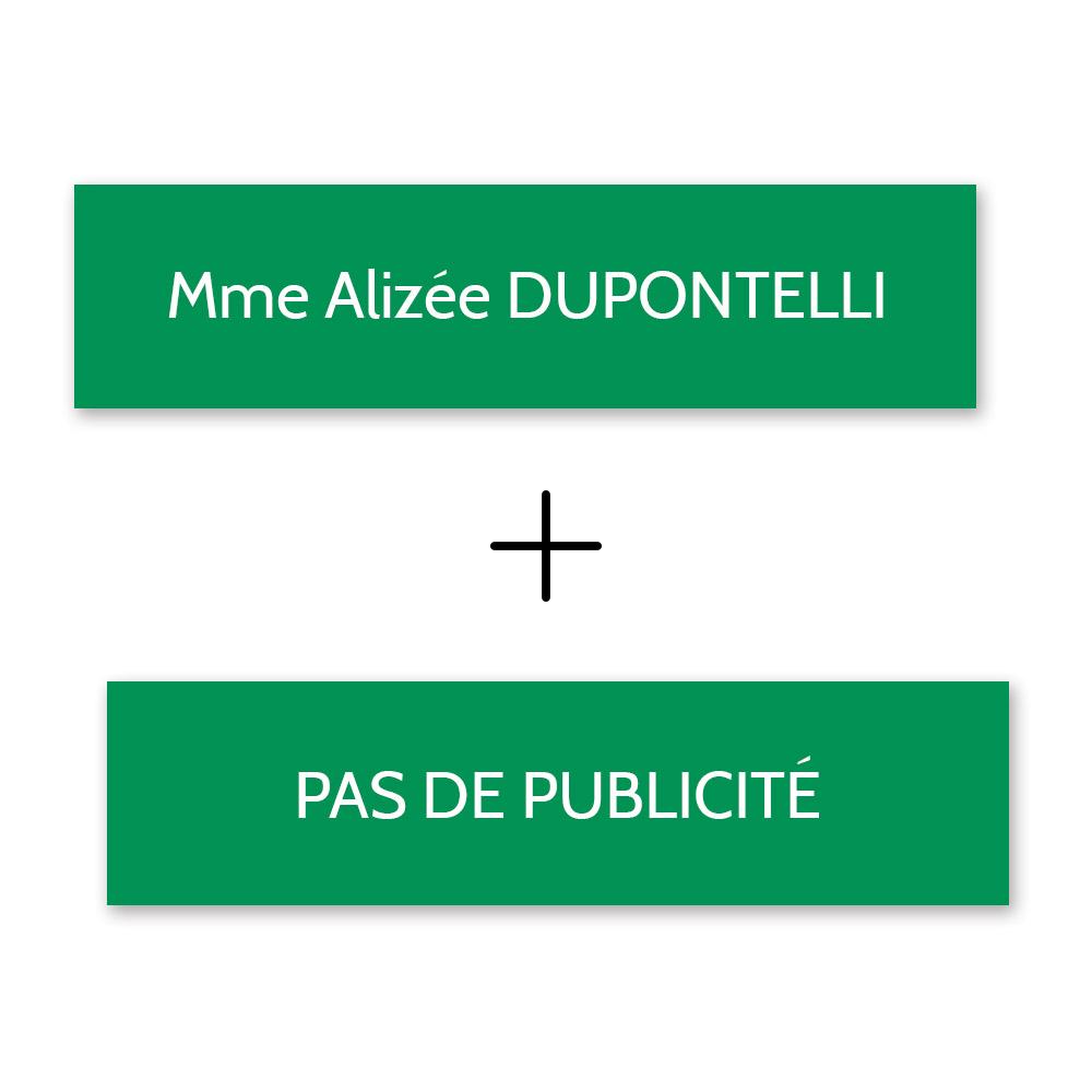 Plaque nom + STOP PUB pour boite aux lettres format Decayeux (100x25mm) vert pomme lettres blanches - 1 ligne