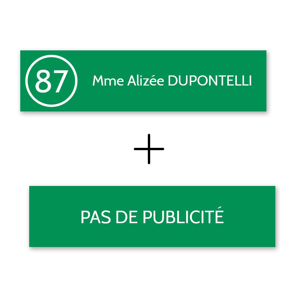 Plaque nom et numéro + Plaque STOP PUB pour boite aux lettres format Decayeux vert pomme lettres blanches - 1 ligne