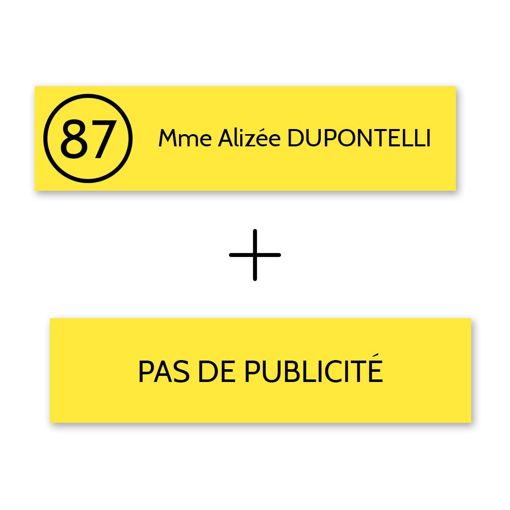 Plaque nom et numéro + Plaque STOP PUB pour boite aux lettres format Decayeux jaune lettres noires - 1 ligne