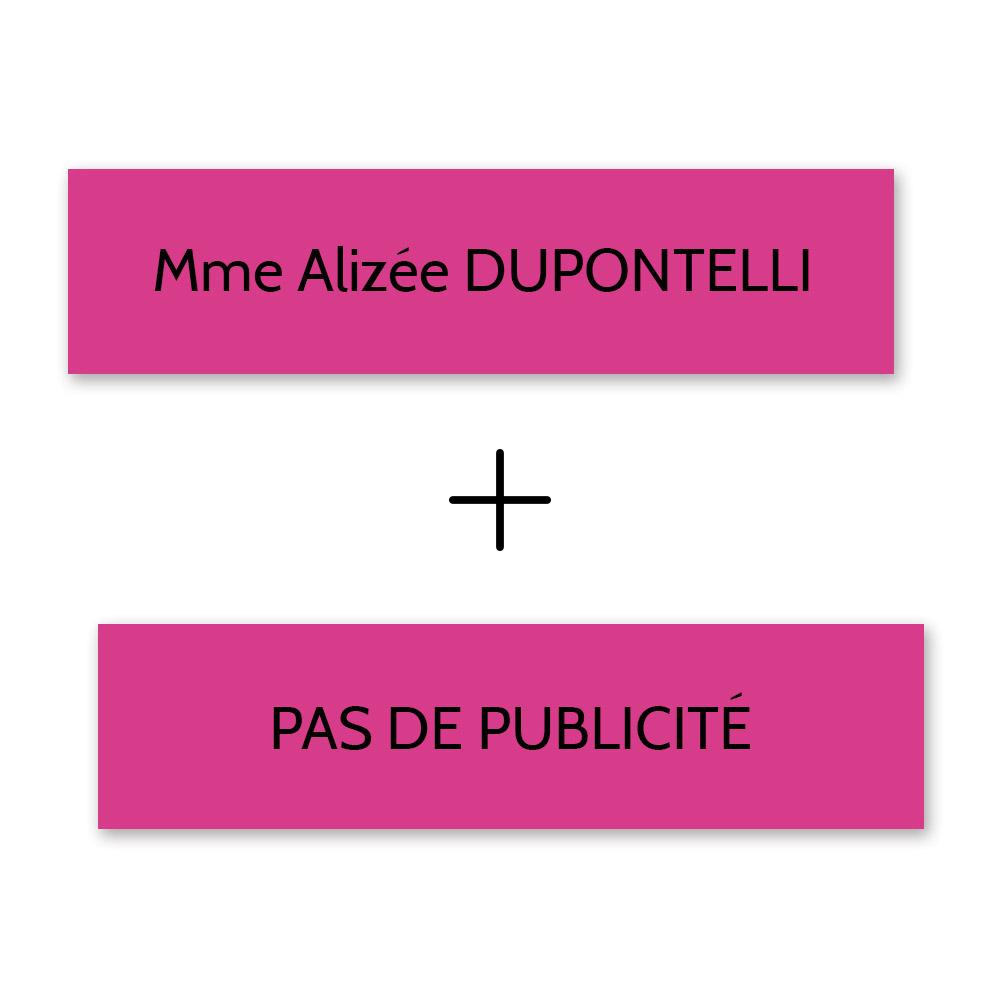 Plaque nom + STOP PUB pour boite aux lettres format Decayeux (100x25mm) rose lettres noires - 1 ligne