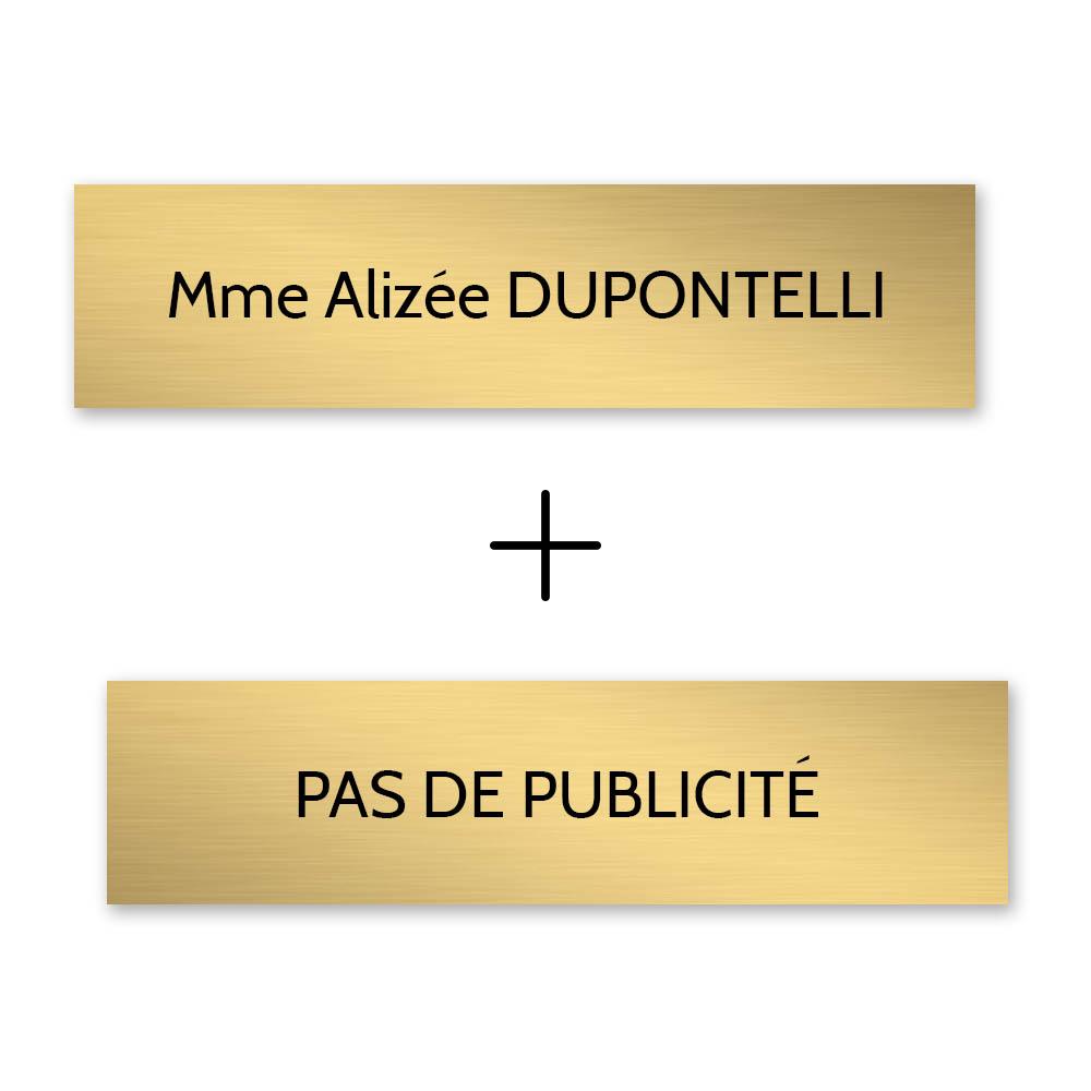 Plaque nom + STOP PUB pour boite aux lettres format Decayeux (100x25mm) or brossé lettres noires - 1 ligne
