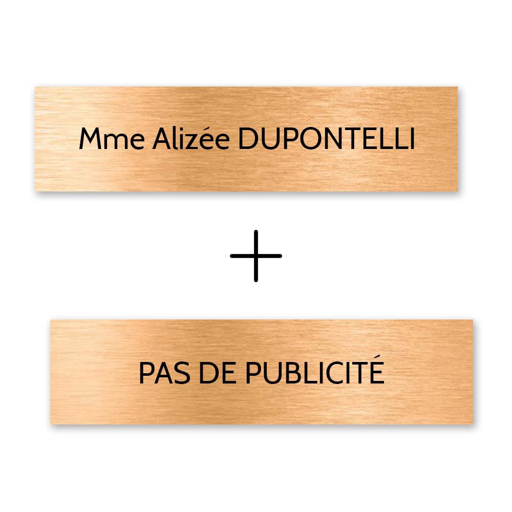 Plaque nom + STOP PUB pour boite aux lettres format Decayeux (100x25mm) cuivre lettres noires - 1 ligne