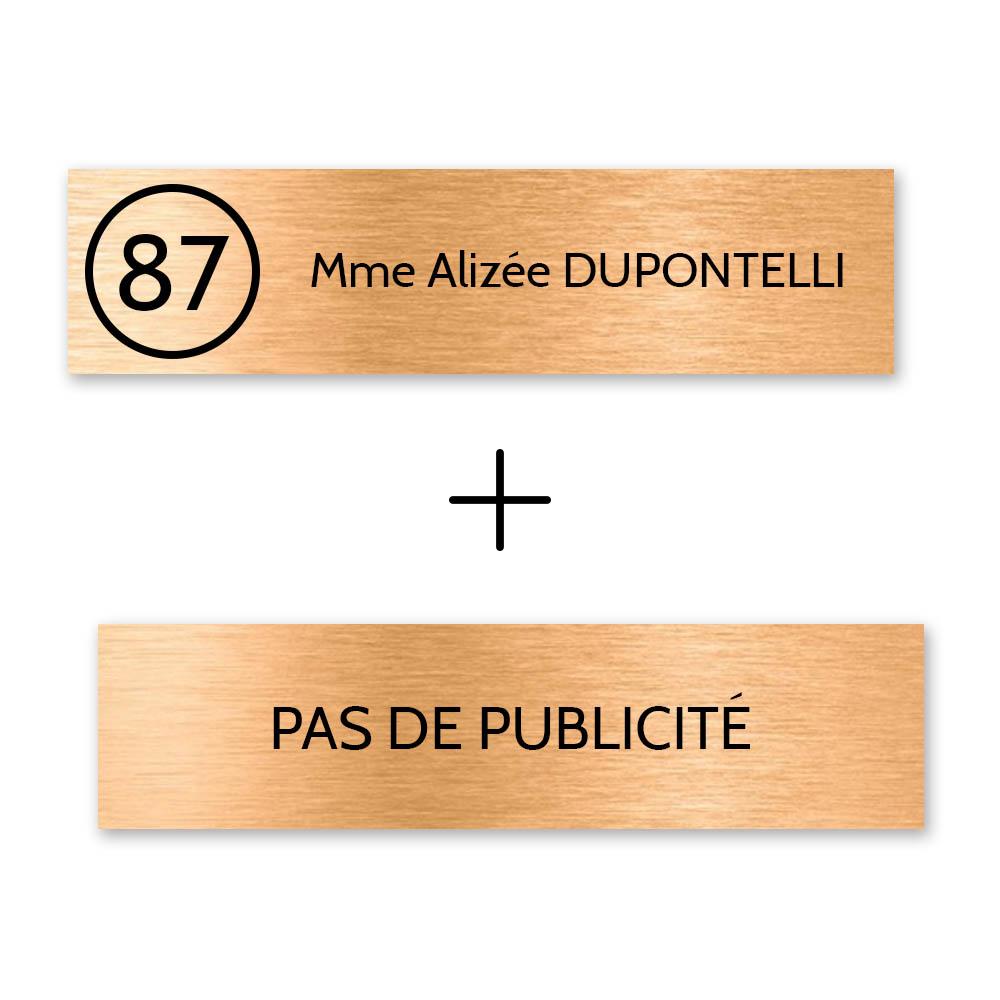 Plaque nom et numéro + Plaque STOP PUB pour boite aux lettres format Decayeux (100x25mm) cuivre lettres noires - 1 ligne