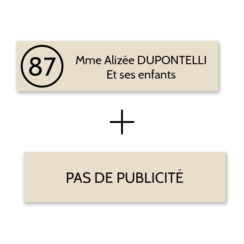 Plaque nom avec numéro + Plaque Stop Pub pour boite aux lettres format Decayeux (100x25mm) beige lettres noires - 2 lignes