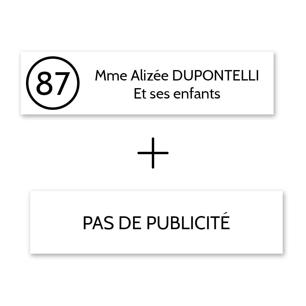 Plaque nom avec numéro + Plaque Stop Pub pour boite aux lettres format Decayeux (100x25mm) blanche lettres noires - 2 lignes