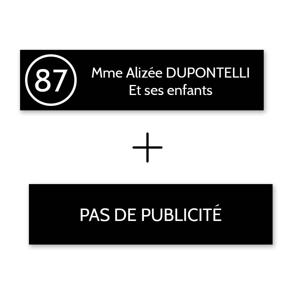 Plaque nom avec numéro + Plaque Stop Pub pour boite aux lettres format Decayeux (100x25mm) noire lettres blanches - 2 lignes