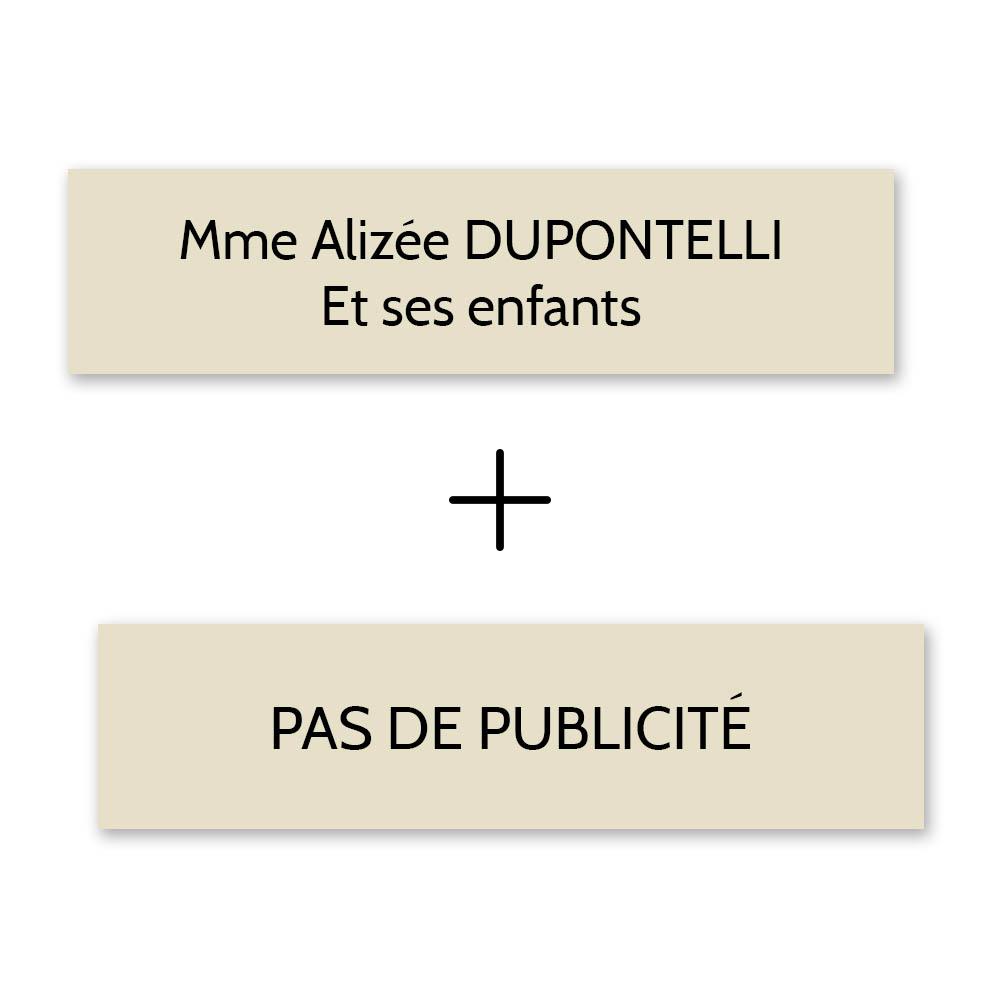 Plaque nom + Plaque Stop Pub pour boite aux lettres format Decayeux (100x25mm) beige lettres noires - 2 lignes