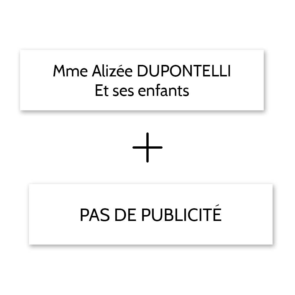 Plaque nom + Plaque Stop Pub pour boite aux lettres format Decayeux (100x25mm) blanche lettres noires - 2 lignes