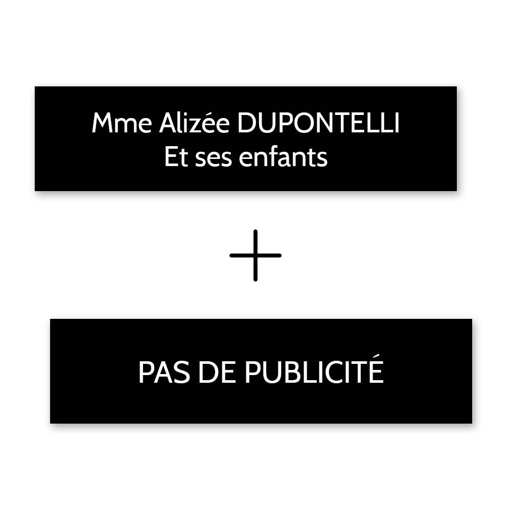 Plaque nom + Plaque Stop Pub pour boite aux lettres format Decayeux (100x25mm) noire lettres blanches - 2 lignes