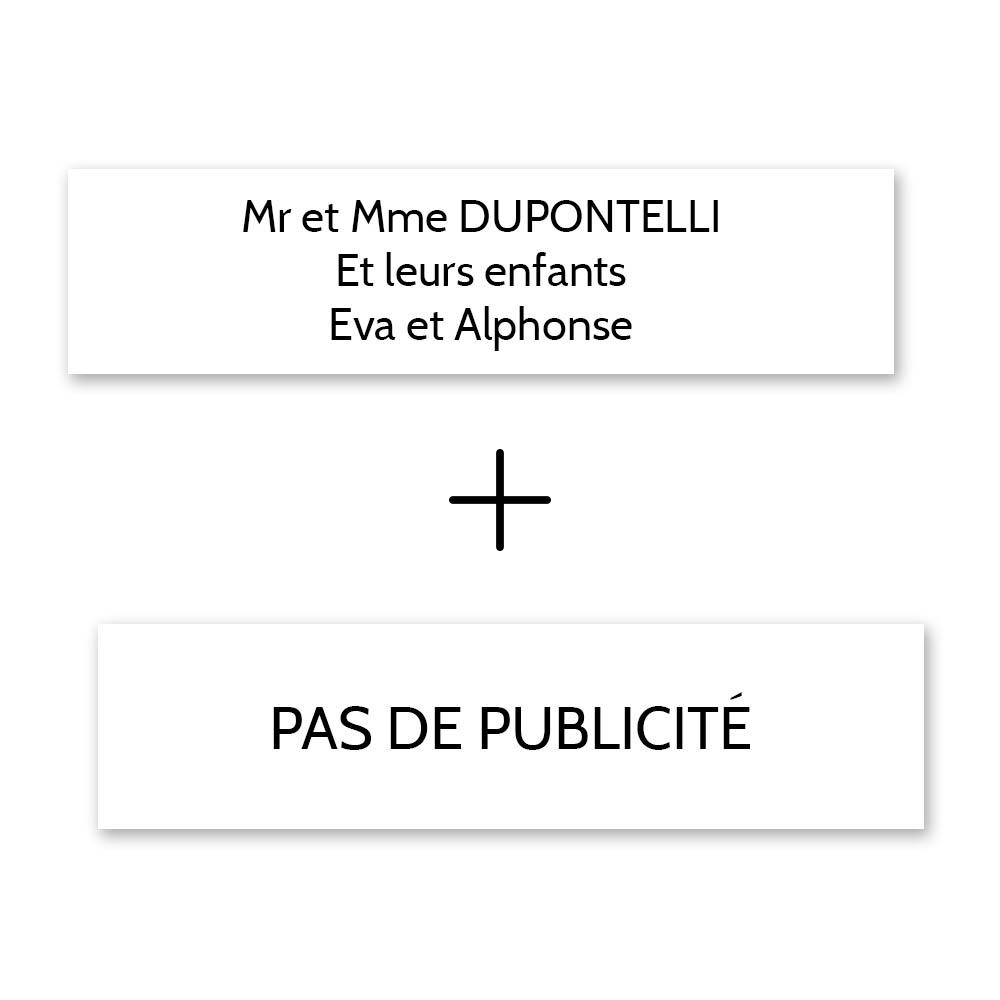 Plaque nom + Plaque Stop Pub pour boite aux lettres format Decayeux (100x25mm) blanche lettres noires - 3 lignes