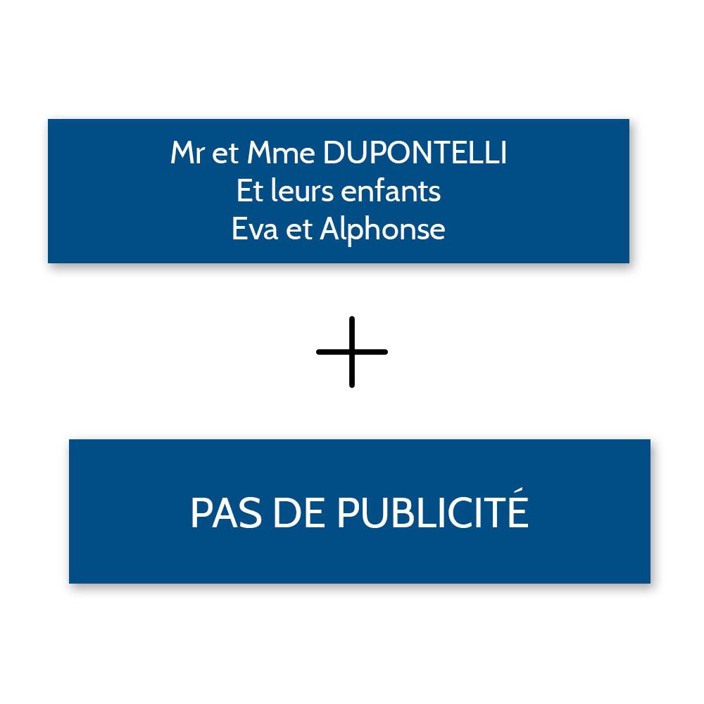 Plaque nom + Plaque Stop Pub pour boite aux lettres format Decayeux (100x25mm) bleue lettres blanches - 3 lignes
