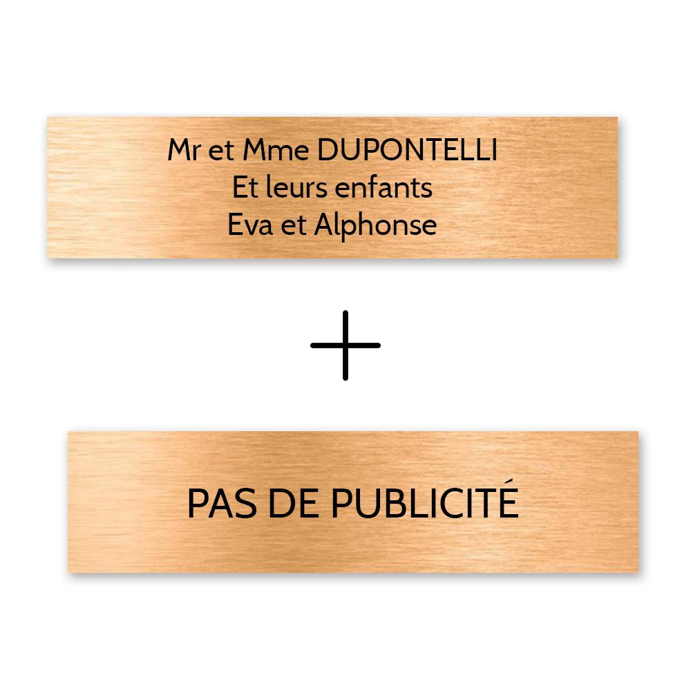 Plaque nom + Plaque Stop Pub pour boite aux lettres format Decayeux (100x25mm) cuivre lettres noires - 3 lignes