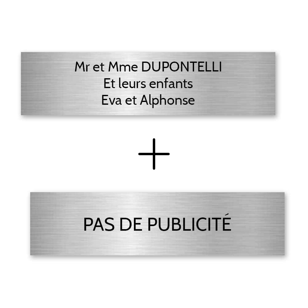 Plaque nom + Plaque Stop Pub pour boite aux lettres format Decayeux (100x25mm) gris argent lettres noires - 3 lignes
