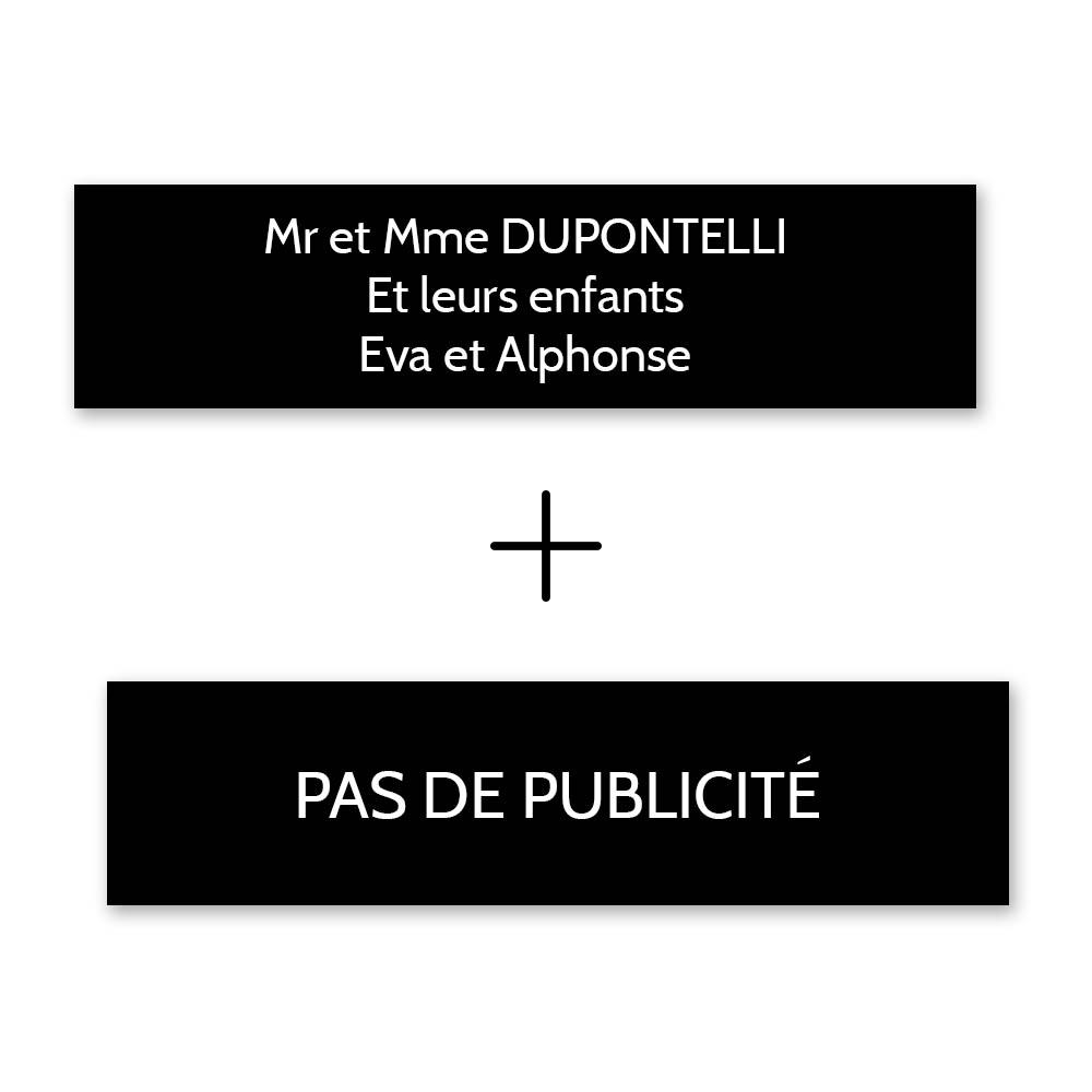 Plaque nom + Plaque Stop Pub pour boite aux lettres format Decayeux (100x25mm) noire lettres blanches - 3 lignes