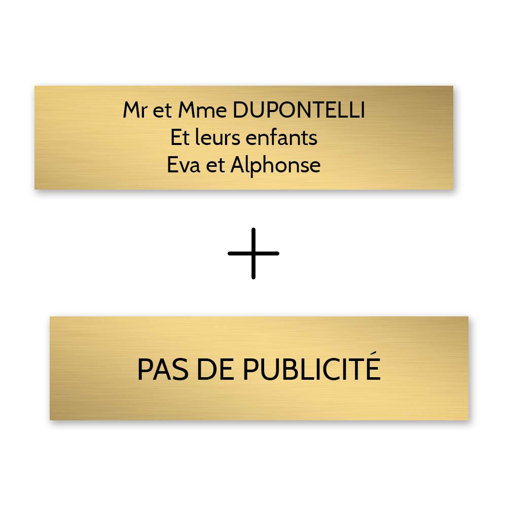 Plaque nom + Plaque Stop Pub pour boite aux lettres format Decayeux (100x25mm) or brossé lettres noires - 3 lignes