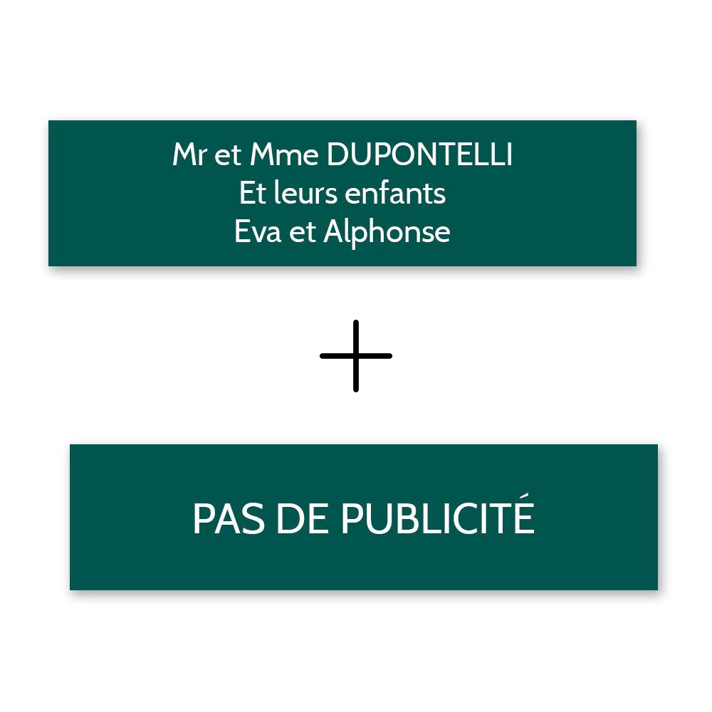 Plaque nom + Plaque Stop Pub pour boite aux lettres format Decayeux (100x25mm) vert foncé lettres blanches - 3 lignes