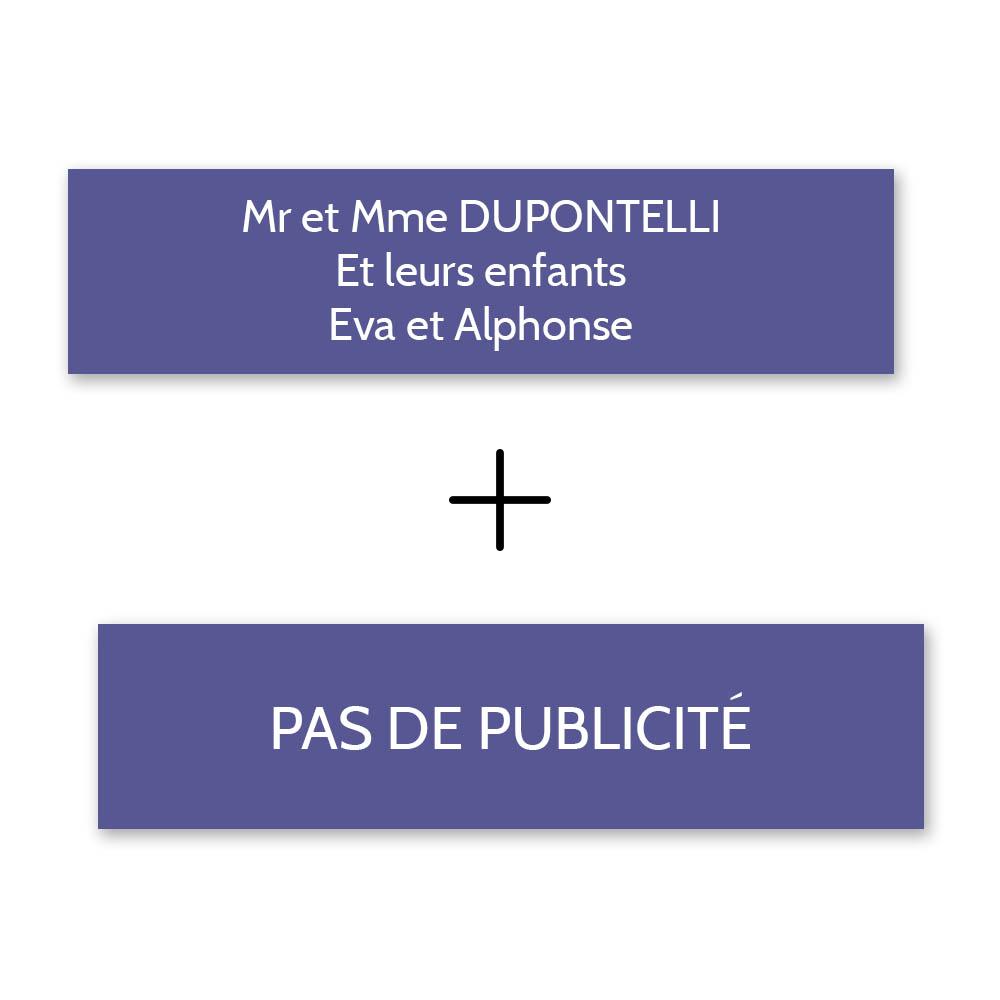 Plaque nom + Plaque Stop Pub pour boite aux lettres format Decayeux (100x25mm) violette lettres blanches - 3 lignes