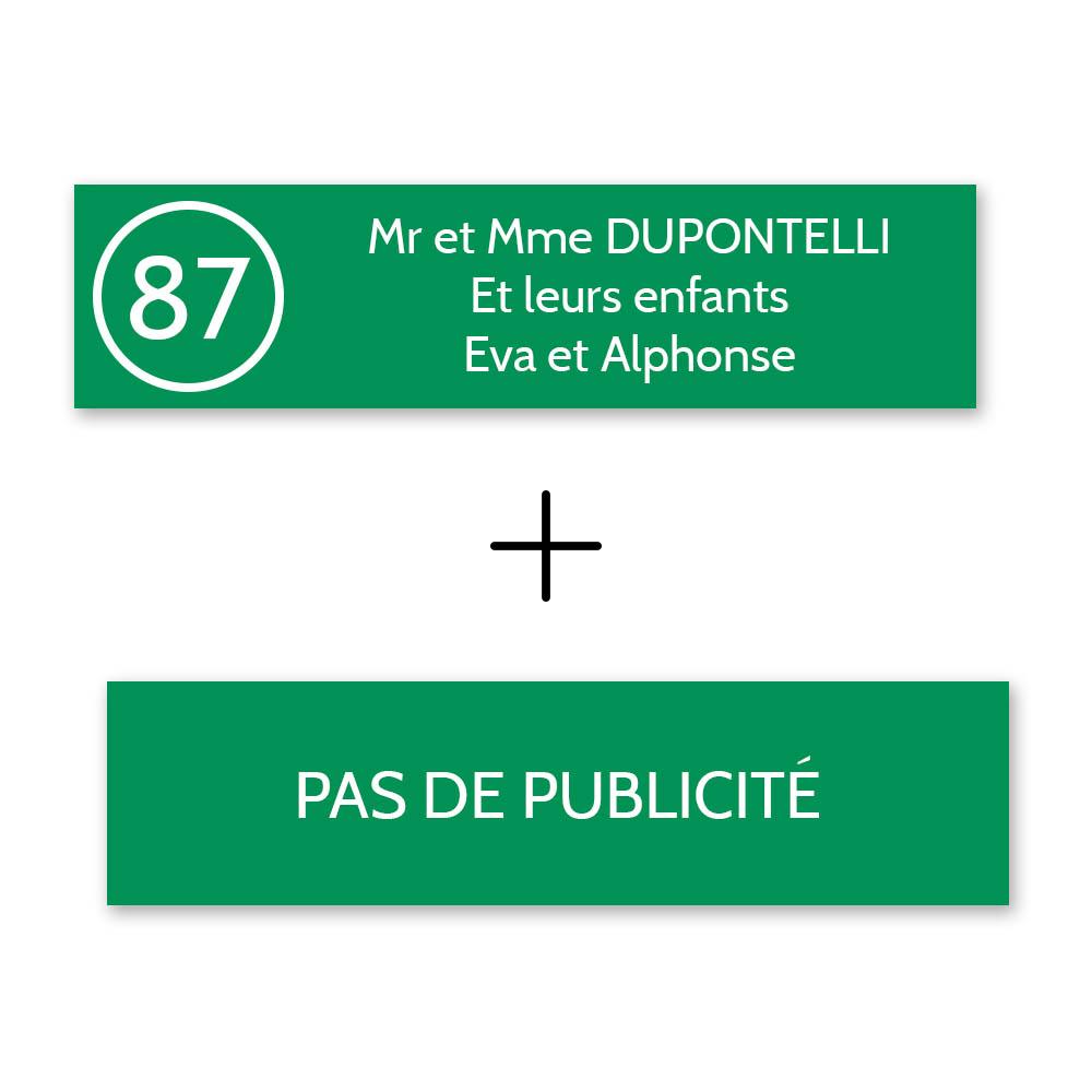 Plaque nom avec numéro + Plaque Stop Pub boite aux lettres format Decayeux (100x25mm) vert pomme lettres blanches 3 lignes