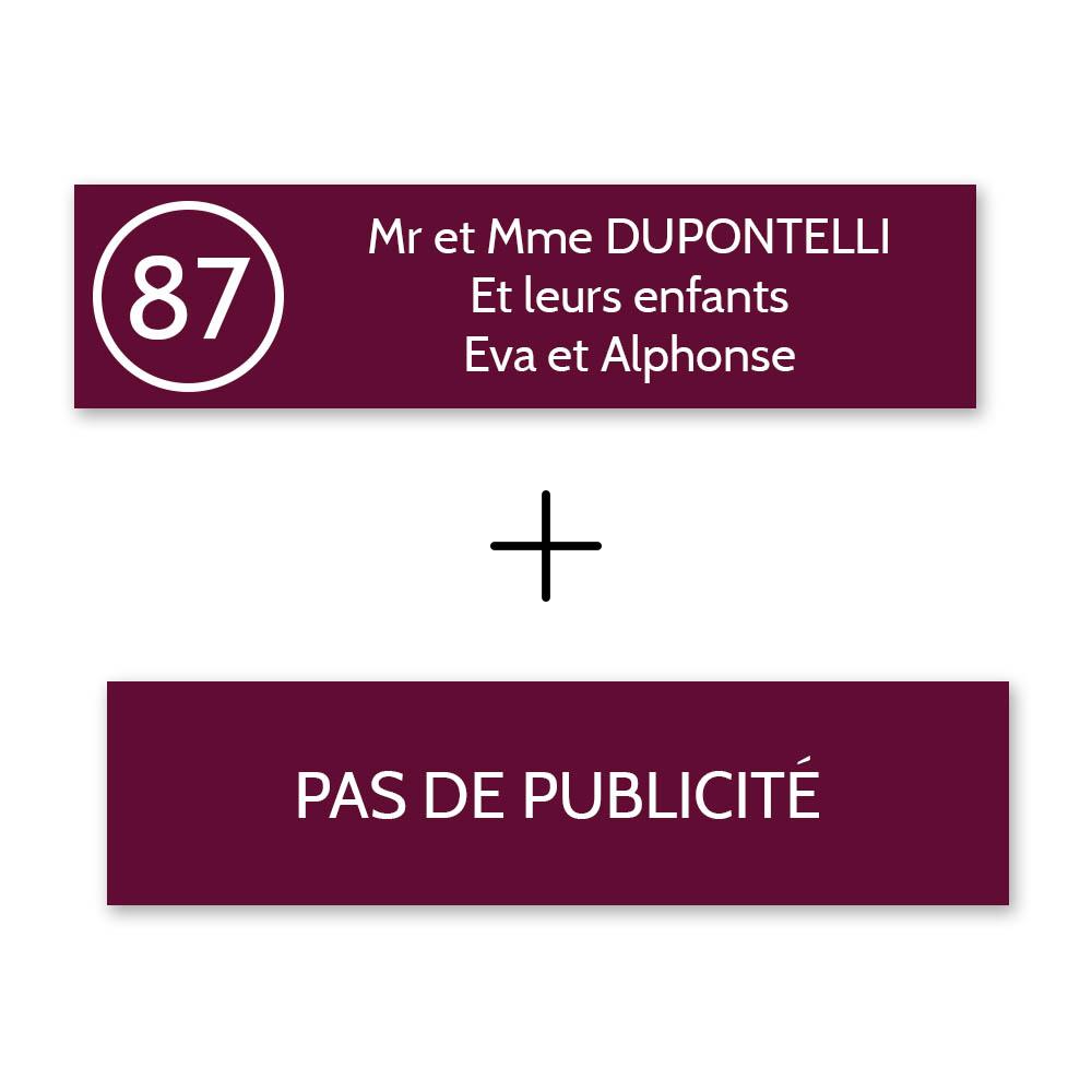 Plaque nom avec numéro + Plaque Stop Pub pour boite aux lettres format Decayeux (100x25mm) bordeaux lettres blanches 3 lignes