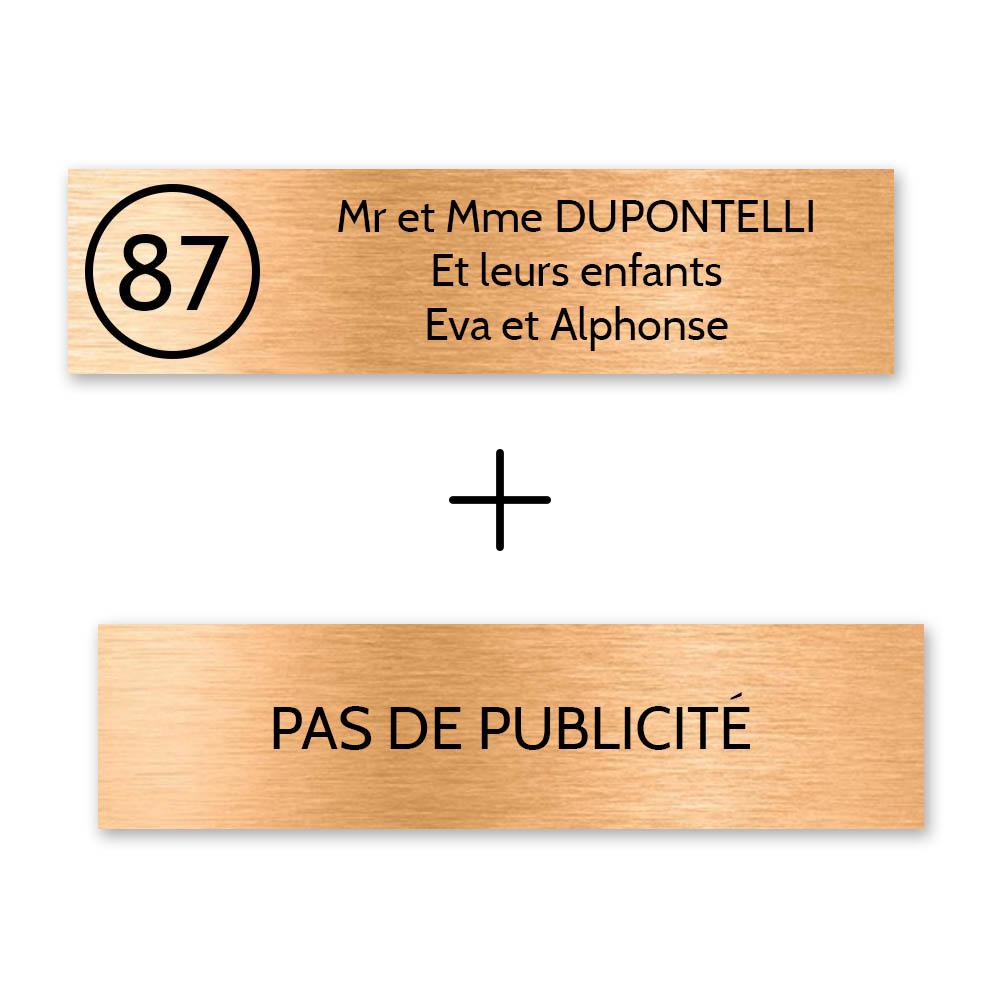 Plaque nom avec numéro + Plaque Stop Pub pour boite aux lettres format Decayeux (100x25mm) cuivre lettres noires - 3 lignes