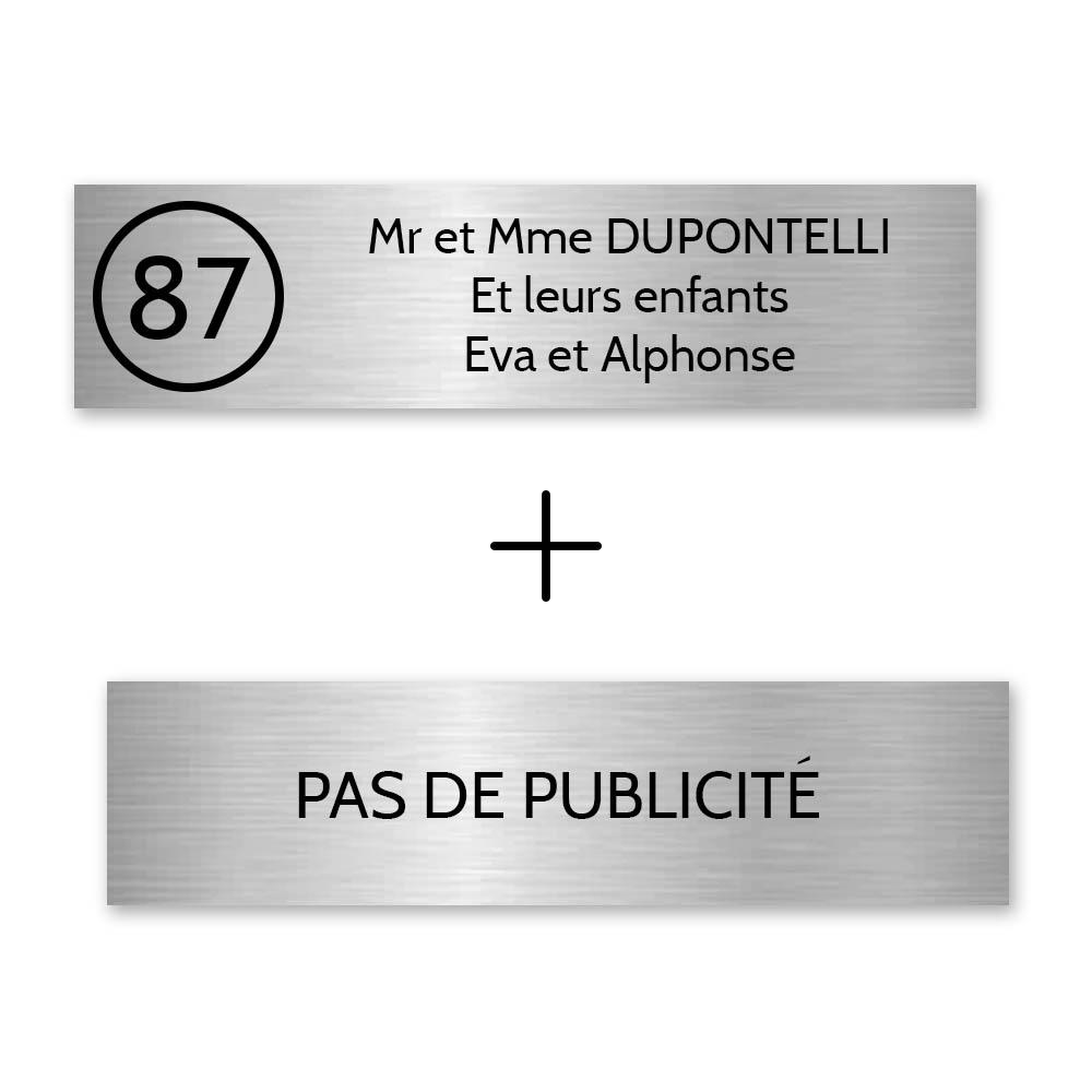 Plaque nom avec numéro + Plaque Stop Pub pour boite aux lettres format Decayeux (100x25mm) gris argent lettres noires - 3 lignes