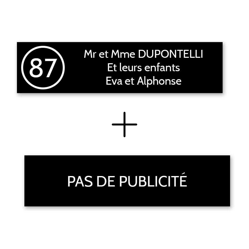 Plaque nom avec numéro + Plaque Stop Pub pour boite aux lettres format Decayeux (100x25mm) noire lettres blanches - 3 lignes