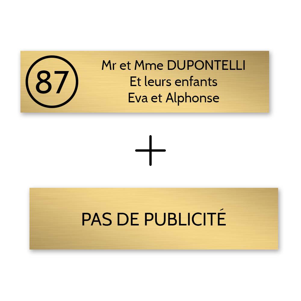Plaque nom avec numéro + Plaque Stop Pub pour boite aux lettres format Decayeux (100x25mm) or brossé lettres noires - 3 lignes