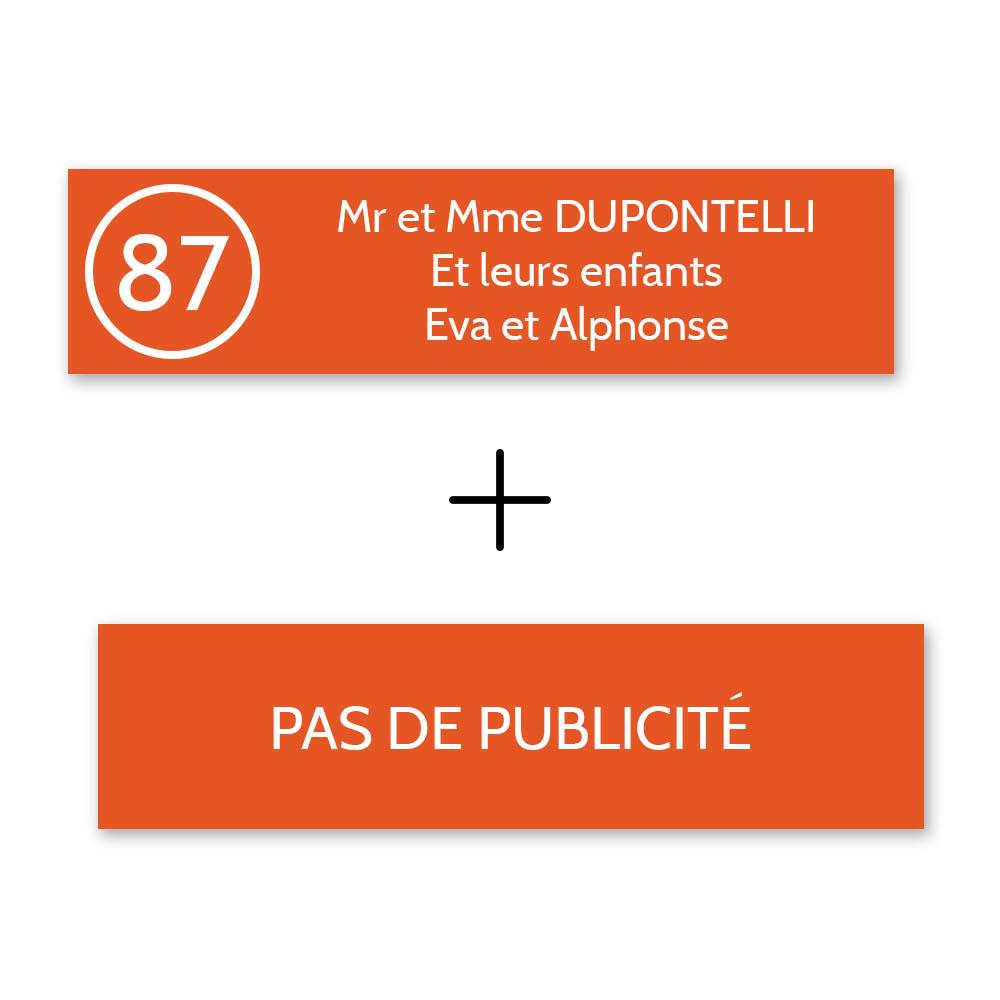 Plaque nom avec numéro + Plaque Stop Pub pour boite aux lettres format Decayeux (100x25mm) orange lettres blanches - 3 lignes