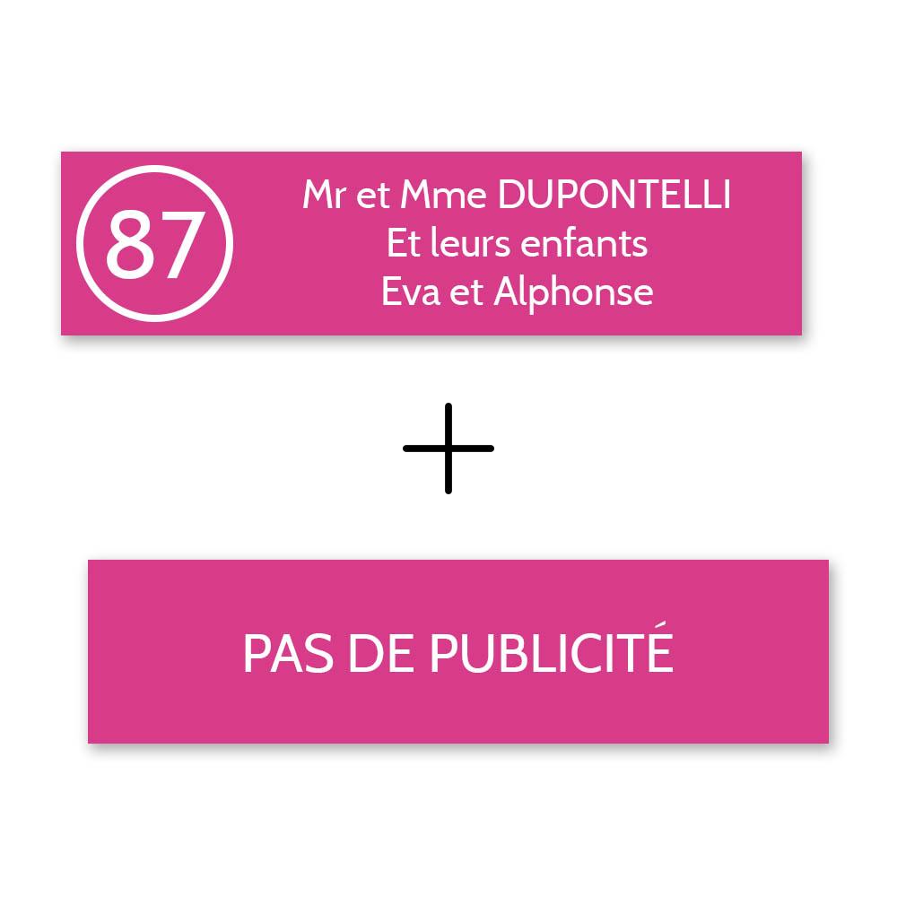 Plaque nom avec numéro + Plaque Stop Pub pour boite aux lettres format Decayeux (100x25mm) rose lettres blanches - 3 lignes