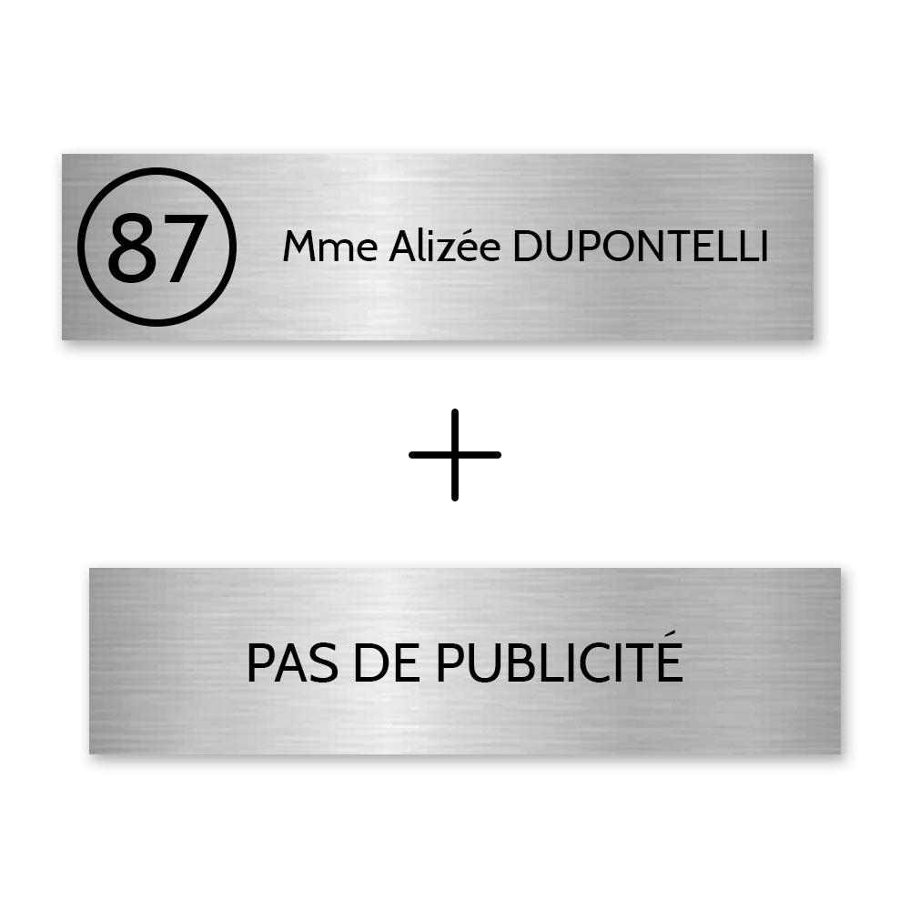 Plaque nom avec numéro + Plaque Stop Pub pour boite aux lettres format Edelen (99x24mm) gris argent lettres noires - 1 ligne