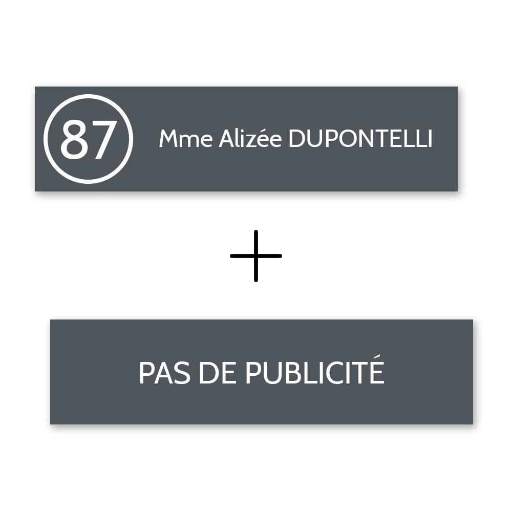Plaque nom avec numéro + Plaque Stop Pub pour boite aux lettres format Edelen (99x24mm) grise lettres blanches - 1 ligne