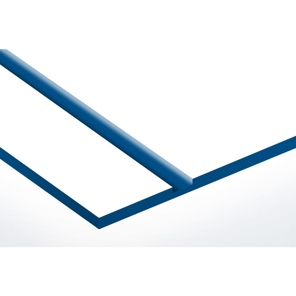 Plaque nom + STOP PUB pour boite aux lettres format Decayeux (100x25mm) blanche lettres bleues - 1 ligne