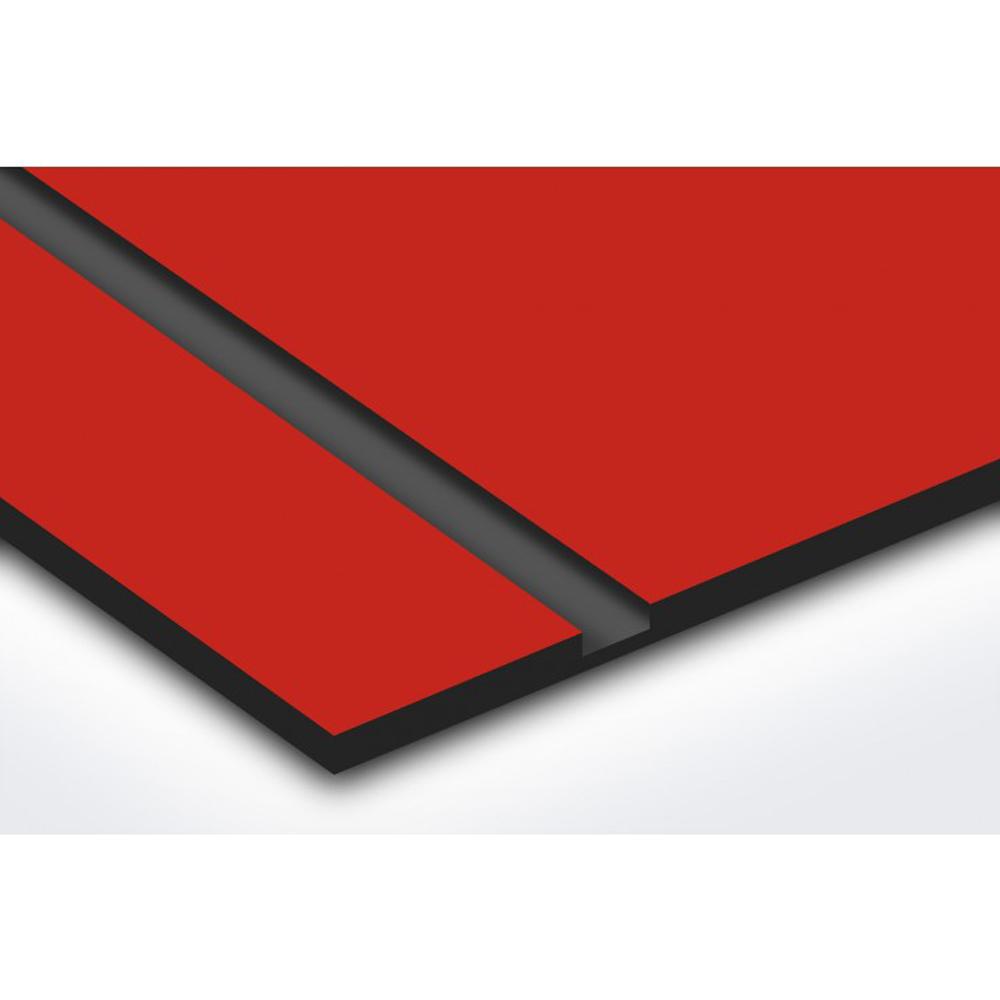Plaque nom et numéro + Plaque STOP PUB pour boite aux lettres format Decayeux (100x25mm) rouge lettres noires - 1 ligne
