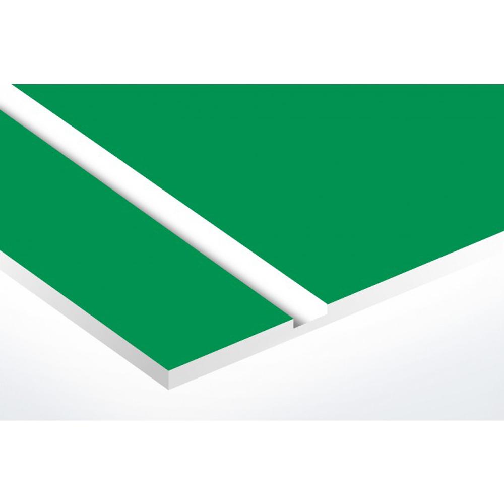 Plaque nom + Plaque Stop Pub pour boite aux lettres format Decayeux (100x25mm) vert pomme lettres blanches - 3 lignes