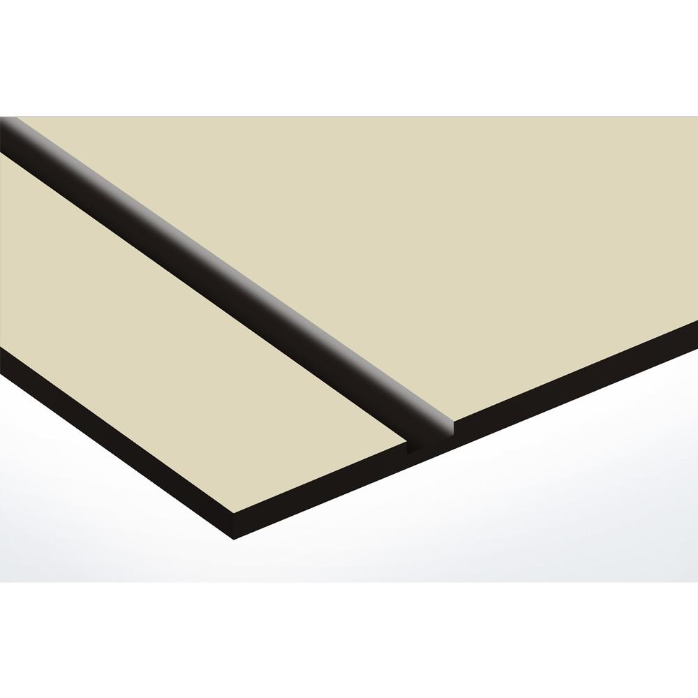 Plaque nom avec numéro + Plaque Stop Pub pour boite aux lettres format Decayeux (100x25mm) beige lettres noires - 3 lignes