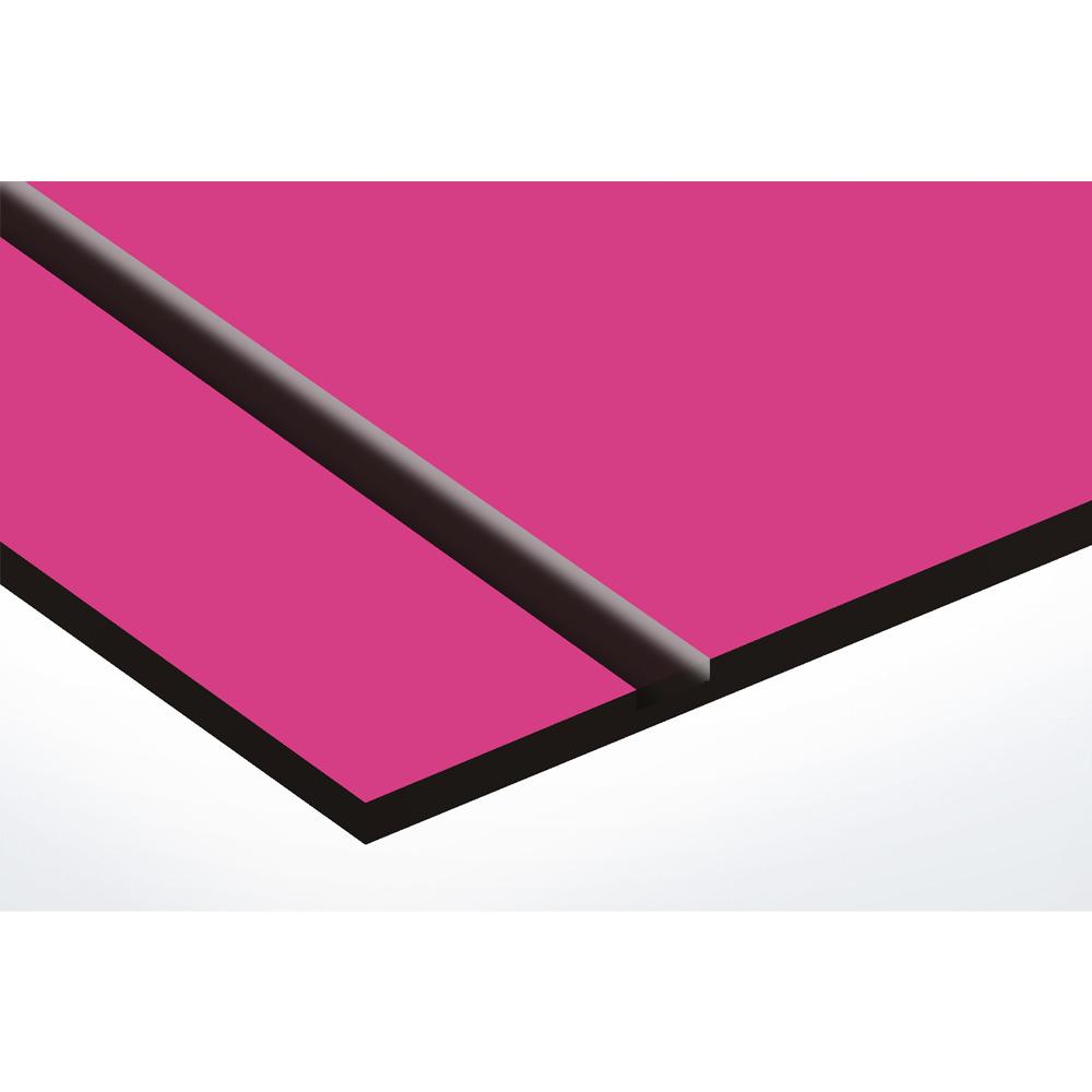 Plaque nom + Plaque Stop Pub pour boite aux lettres format Decayeux (100x25mm) rose lettres noires - 3 lignes