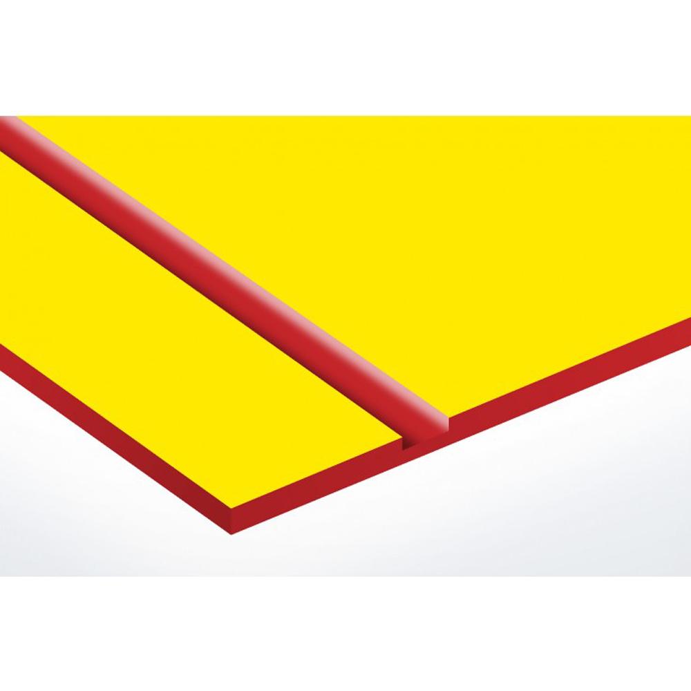 Plaque nom avec numéro + Plaque Stop Pub pour boite aux lettres format Decayeux (100x25mm) Jaune lettres rouges - 3 lignes
