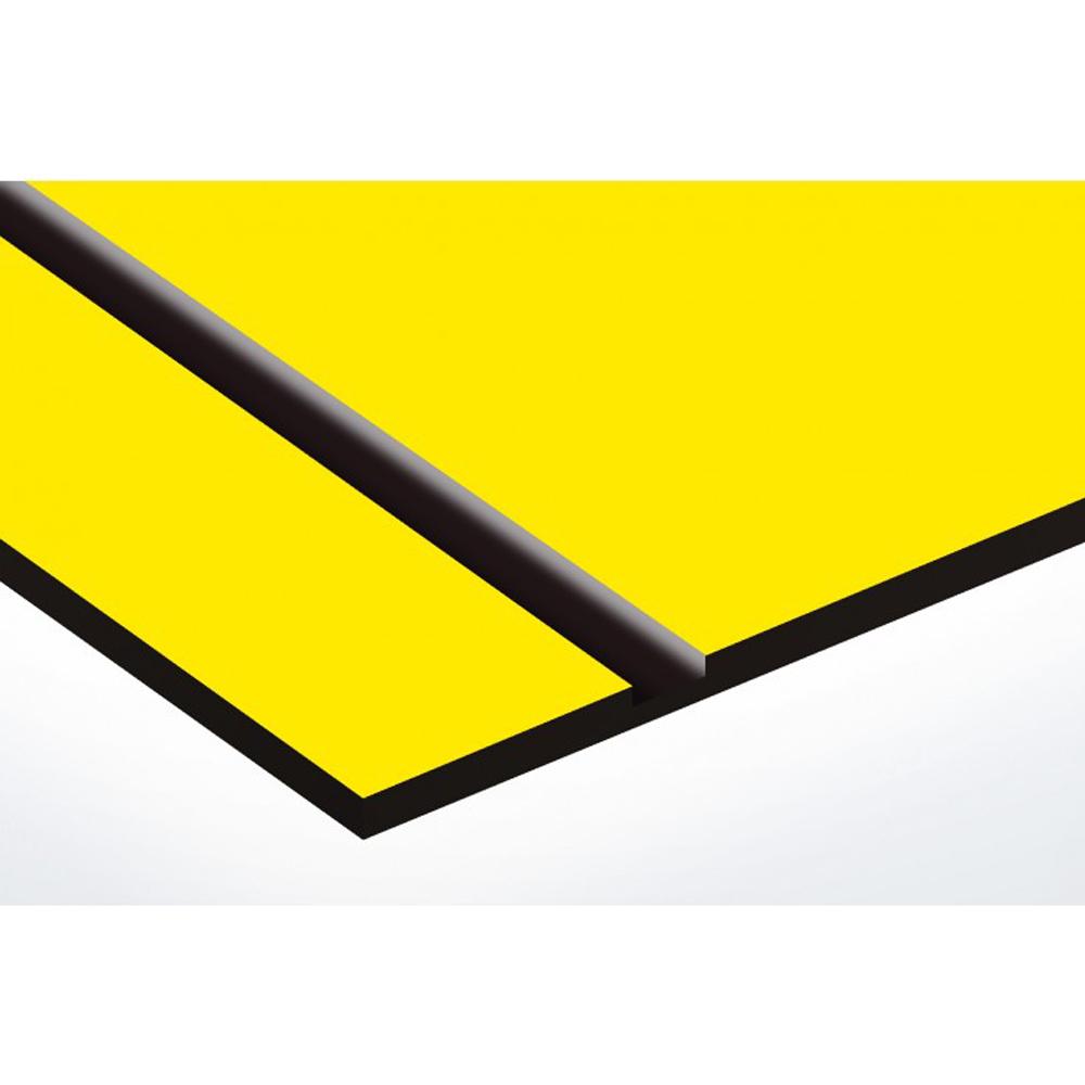 Plaque nom + Plaque Stop Pub pour boite aux lettres format Decayeux (100x25mm) jaune lettres noires - 3 lignes