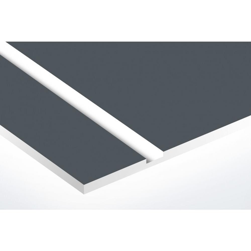 Plaque nom avec numéro + Plaque Stop Pub pour boite aux lettres format Decayeux (100x25mm) grise lettres blanches - 3 lignes