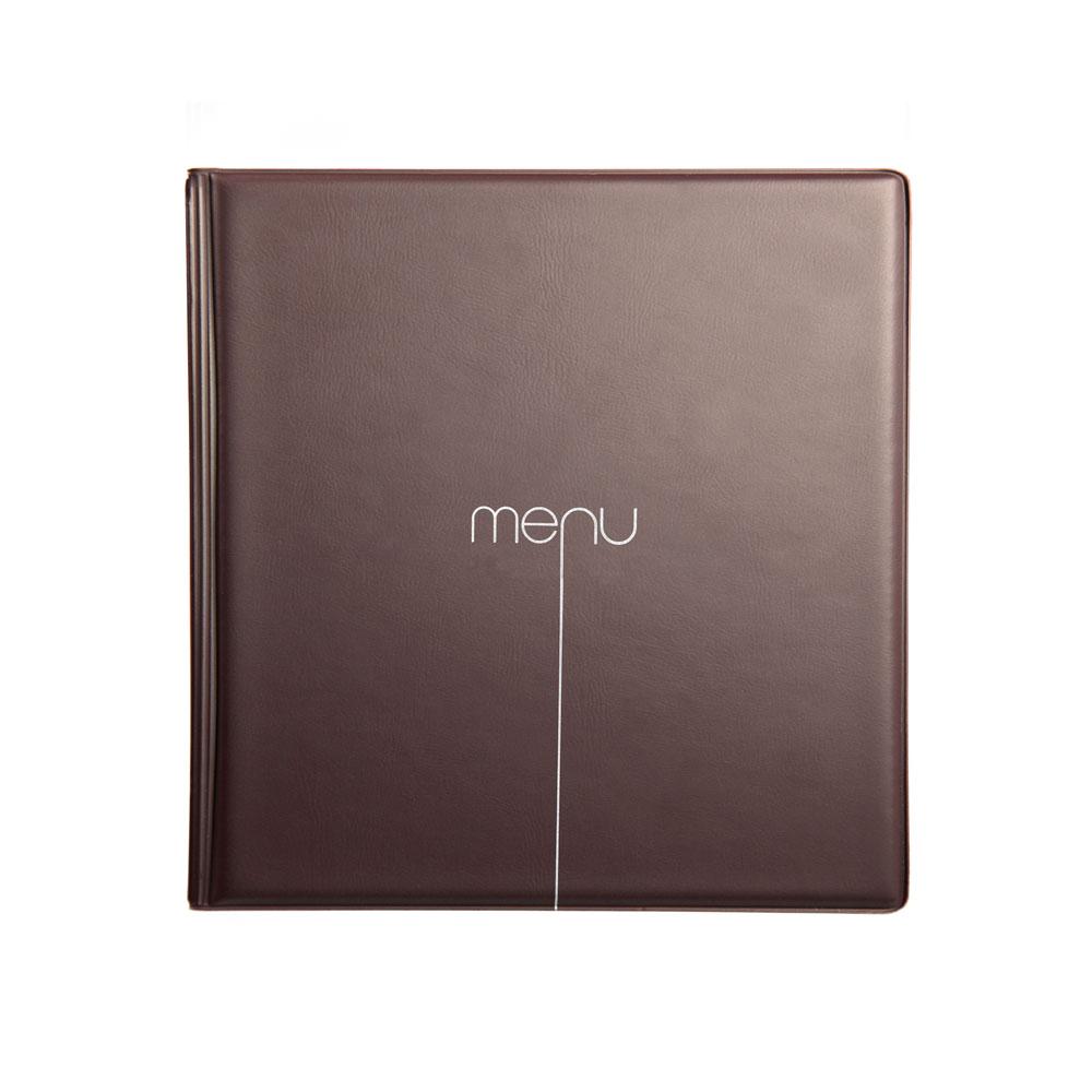 Protège menu Risto couleur marron format carré 21 cm x 21 cm pour présentation menus hôtels - restaurants