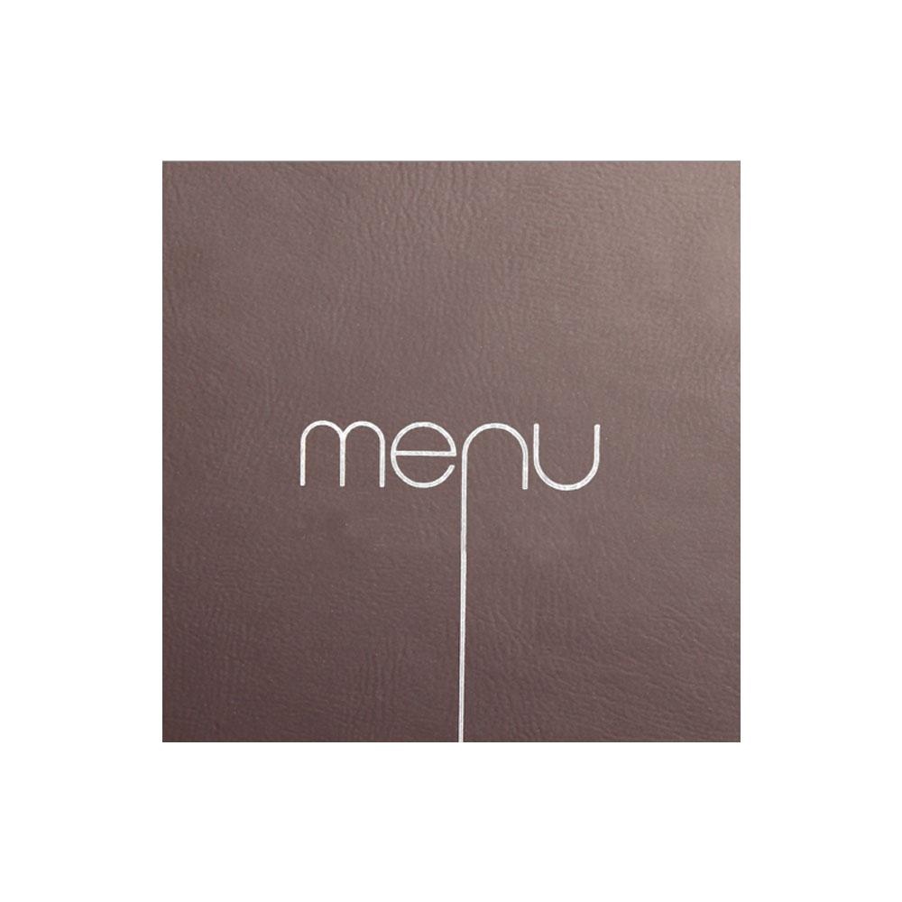 Lot de 10 Protège-menus Risto couleur marron format carré 21 cm x 21 cm pour présentation menus hôtels - restaurants