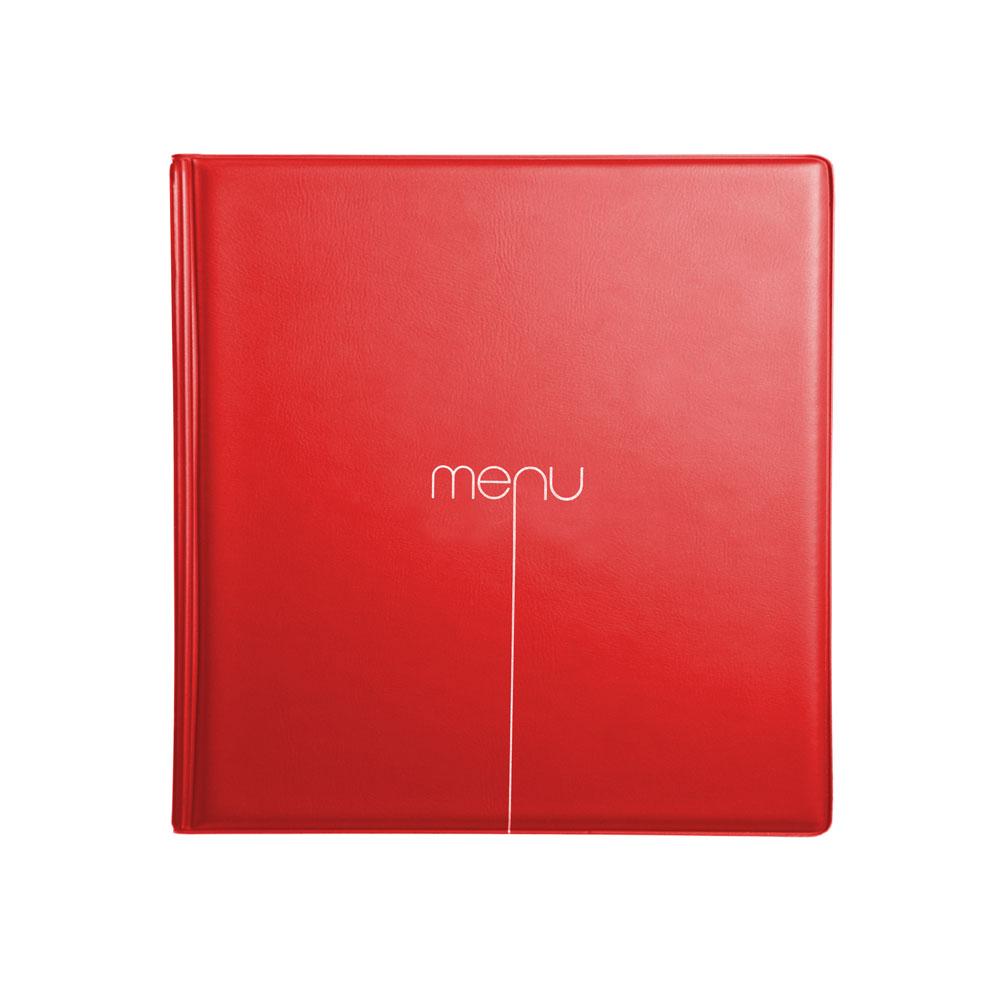 Lot de 10 Protège-menus Risto couleur rouge format carré 21 cm x 21 cm pour présentation menus hôtels - restaurants